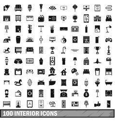 100 interior icons set simple style vector