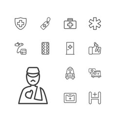 13 hospital icons vector