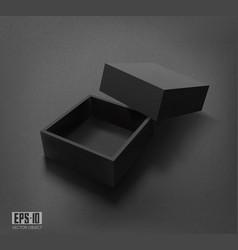 3d packaging black open box vector image