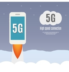 5g template with smartphone flying vector