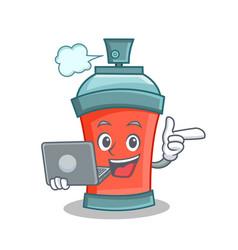 Aerosol spray can character cartoon with laptop vector