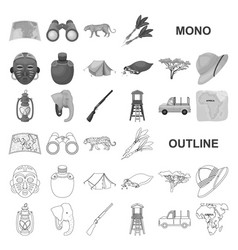 african safari monochrom icons in set collection vector image