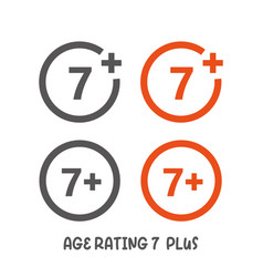 Age rating 7 plus movie icon under 7 years sign vector
