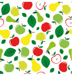 apple and pear seamless pattern white background vector image