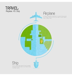 Around the world travelling by plane vs ship vector image