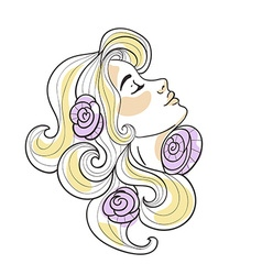Blonde girl with roses in her hair on the white vector
