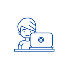 boy working on laptop line icon concept boy vector image