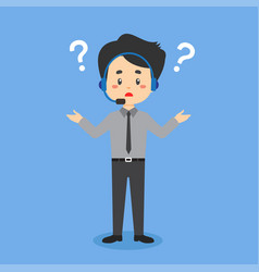 Call center confused with question mark vector