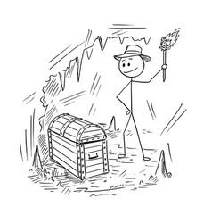 cartoon of adventurer man who found a treasure in vector image