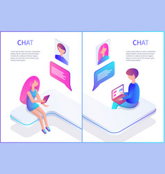 Chat male and female posters vector