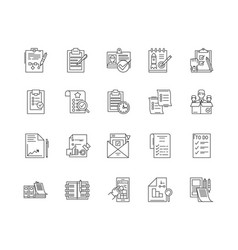 checklist line icons signs set outline vector image