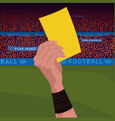 Close up hand holding yellow card vector