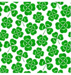 clover leaves seamless pattern green shamrock vector image
