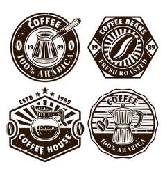 coffee set four emblems badges labels vector image