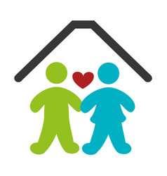 color pictogram with couple in home vector image