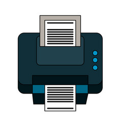 color silhouette cartoon printer device with sheet vector image