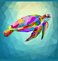 colorful turtle floating underwater in the vector image