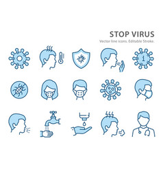 coronavirus line icon set vector image