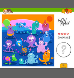 count the funny monsters activity worksheet vector image