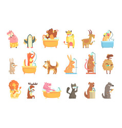 Cute animals bathing and washing in water set vector
