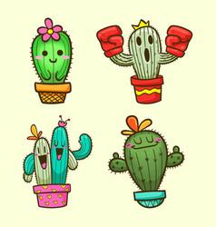cute cactus cartoon vector image