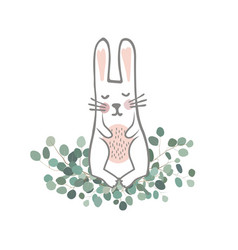 cute hand drawn bunny on the eucaliptus branches vector image