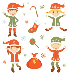 Cute Santa helpers vector image