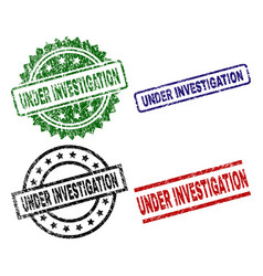 Damaged textured under investigation seal stamps vector