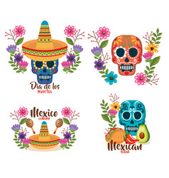 day of the dead masks with floral decoration vector image