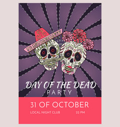 Day of the dead party poster template with two vector