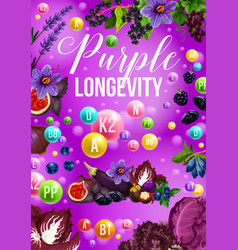 Detox color diet poster for purple food day menu vector