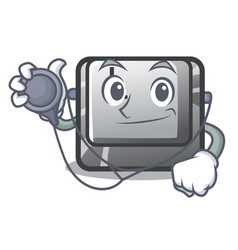 Doctor button l attached to character keyboard vector
