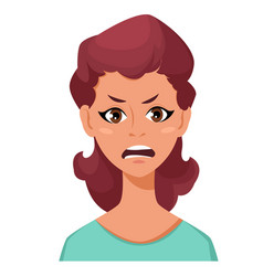 Face expression a woman - anger female vector
