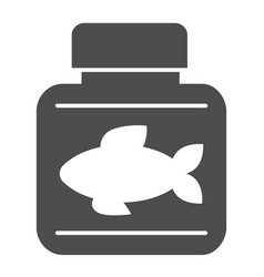 Fish oil solid icon bottle with fish oil vector
