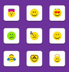 flat icon gesture set of joy cold sweat smile vector image