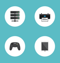 Flat icons printer datacenter controller and vector