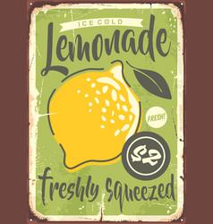 fresh lemonade metal sign design vector image