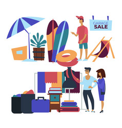 Garage sale beach items and clothes customers vector