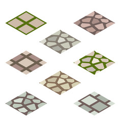 garden or farm isometric tile set - walk paving vector image