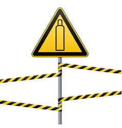gas cylinder attention is dangerous warning sign vector image