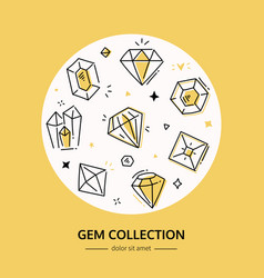 gem and diamond collection - line design style vector image