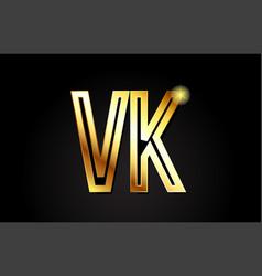 gold alphabet letter vk v k logo combination icon vector image