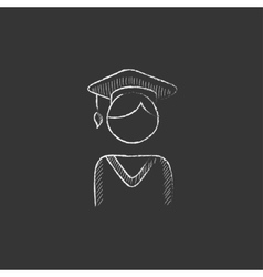 Graduate Drawn in chalk icon vector image
