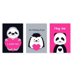 Greeting cards set - cute animals hand vector image