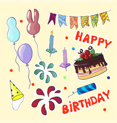 Happy birthday set in cartoon style vector