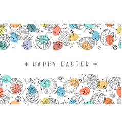 happy easter background with ornamental eggs hand vector image