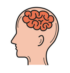 Human profile with brain icon vector