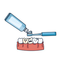 Human teeth with toothbrush and paste vector