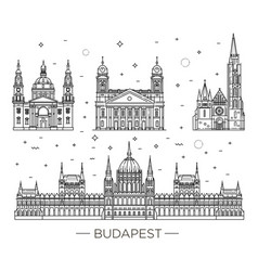 hungarian travel landmark historical buildings vector image