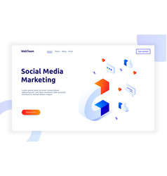 isometric social marketing gradient style design vector image